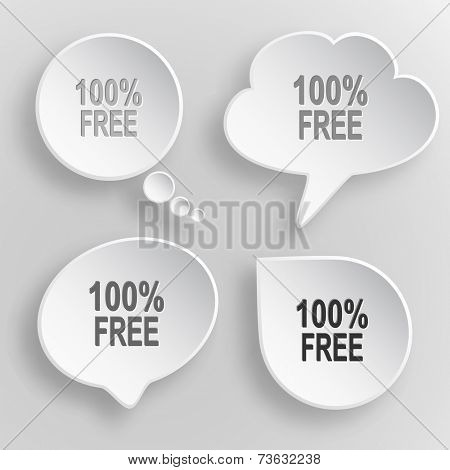 100% free. White flat raster buttons on gray background.