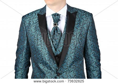 Men's Wedding Suit With Floral Patterned