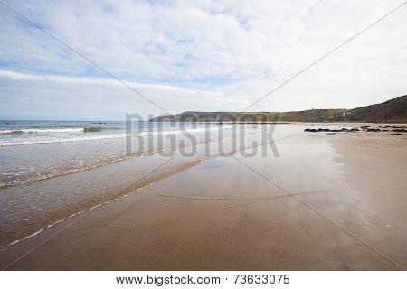 Breaking Waves On Sandy Beach Seascape