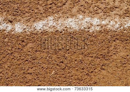Foul Ball Chalk Line On A Baseball Field
