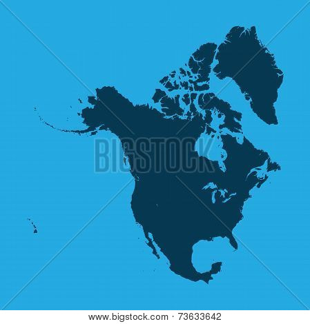 Illustration Of The Continents Of The World On White Background - North America