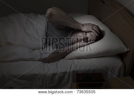 Mature Man Having Trouble Sleeping