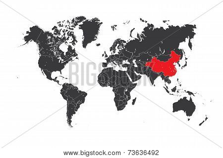 Map Of The World With A Selected Country Of China