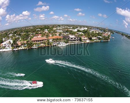Waterways In Boca Raton, Florida Aerial View