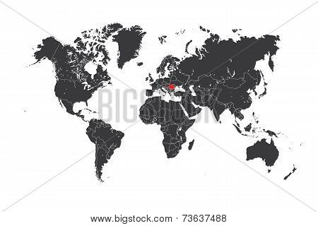 Map Of The World With A Selected Country Of Romania