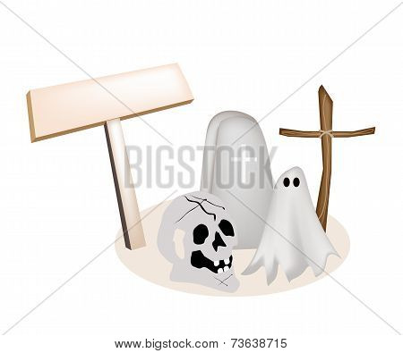 Illustration of Halloween Items with Wooden Placard