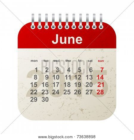 calendar 2015 in vintage style - june