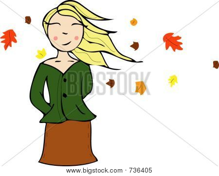 Fall Girl Illustration