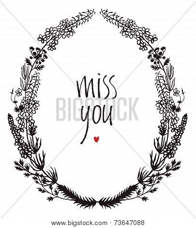 Miss You Design Card With Floral Vignette And Heart