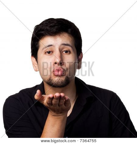 Hispanic Man Blowing A Kiss