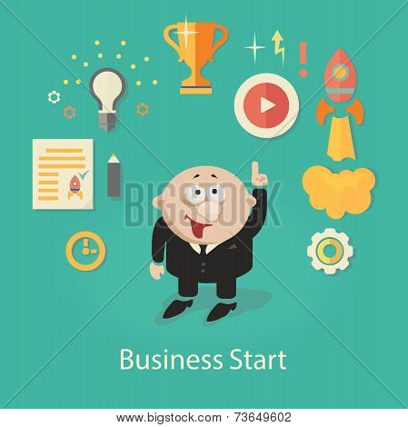 Business Startup  Illustration.  infographics with businessman,Gears, hand