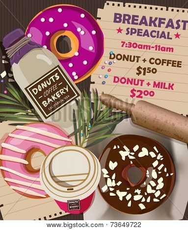 Donuts Coffee Bakery Advertising Banner 2