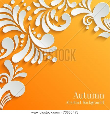 Abstract Autumn Orange Background with 3d Floral Pattern