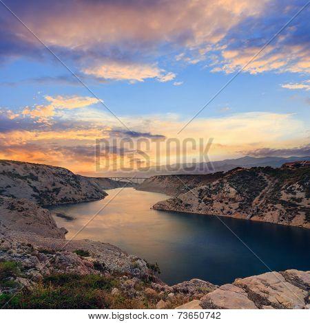 Maslenica Strait And Beautiful Sunset, North Of Zadar, Croatia