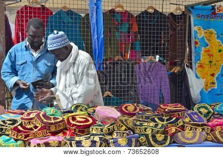 Traders Selling Hats Playa Blanca Market