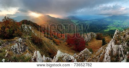 Countryside With Forest And Hill At Fall, Slovakia Peak Vapec