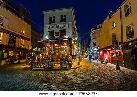 Romantic Paris Cafe On Montmartre In The Evening, Paris, France