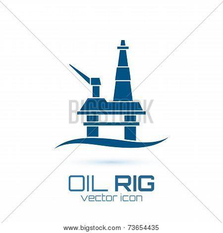 Simple oil rig, conceptual icon