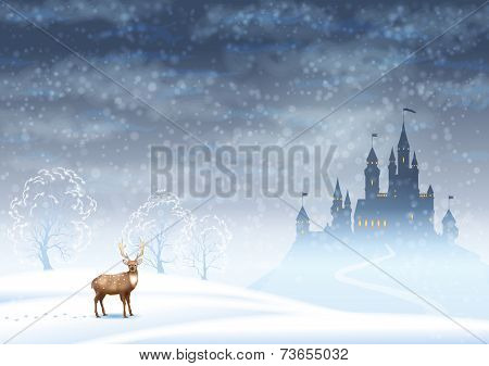 Christmas Landscape Winter Castle