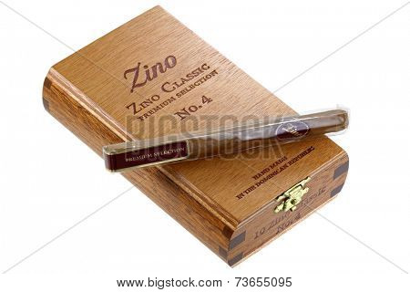 BANGKOK, THAILAND - AUGUST 2014 : A wooden box filled with Zino Classic Premium Selection Cigars No. 4 on 7 August 2014 in Bangkok, Thailand. Zino Classic are hand-rolled cigars.