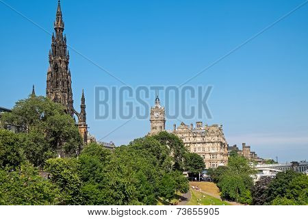 Scott Monument and old building