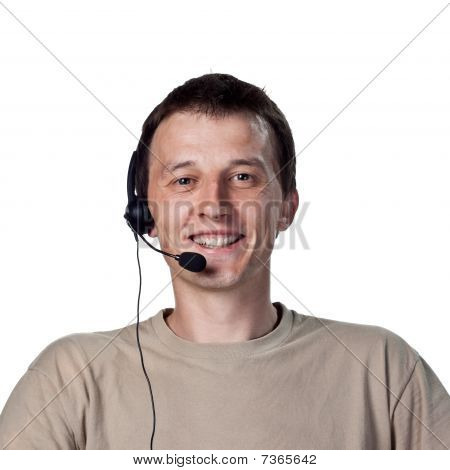 Grinning Call Center Worker