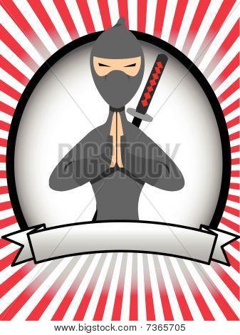 Cartoon Ninja Oval Banner Ad