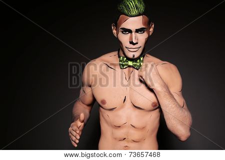 Sexy Muscular Man With Painted Face For Halloween Party