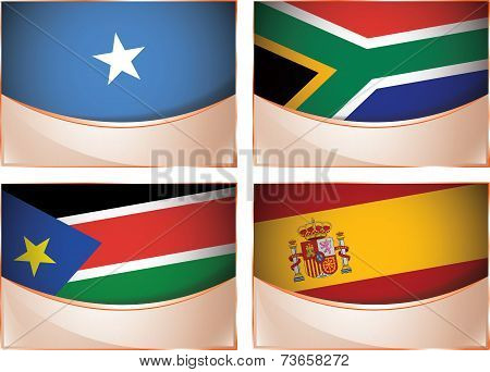 Flags illustration, Somalia, South Africa, South Sudan, Spai