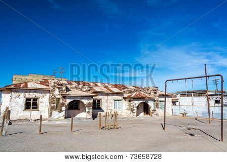 Schoolyard In Abandoned Town