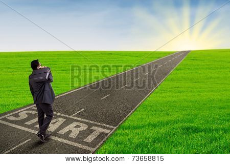 Businessman Starting His Journey To Success