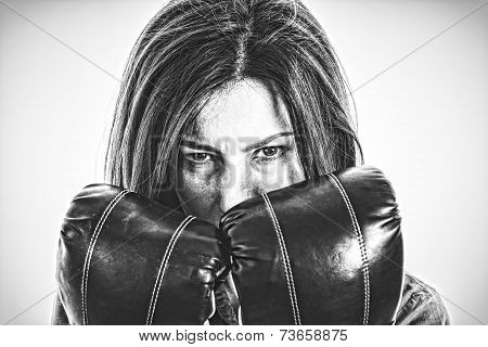 Fearless And Furious Modern Business Woman With Boxing Gloves Isolated
