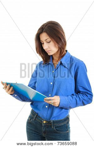 Pensive College Girl Or Woman With  Textbook
