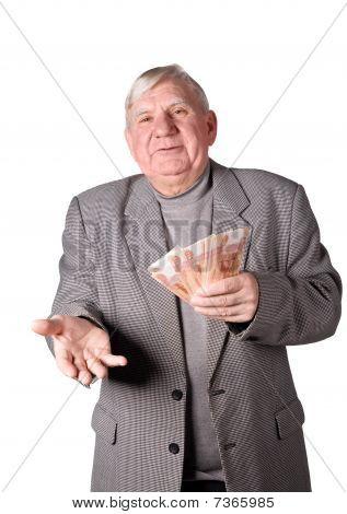 Elderly Man With Money In Hands