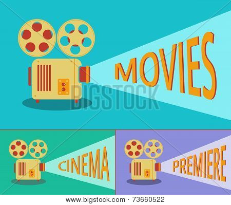 Cinema Retro Projector. Vector.