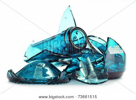 Pieces Of Broken Glass Over White Background. Recycling