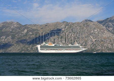 White Passenger Ship Anchored In The Bay Of Kotor. Montenegro