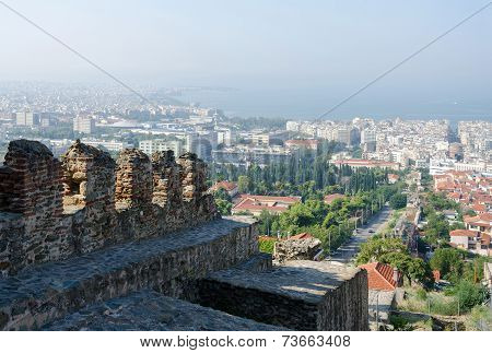 Greece, Thessaloniki, View Of The Historic Center With The Castle Walls