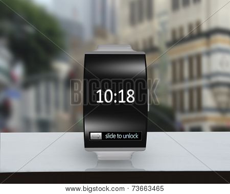 Ultra-lightweight Black Glass Bent Interface Smartwatch With Steel Watchstrap