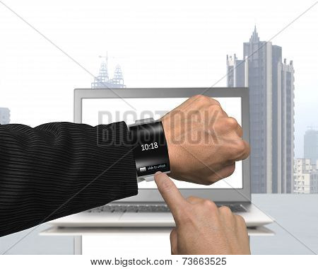 Businessman Hand Wearing Black Glass Smartwatch With Bent Interface