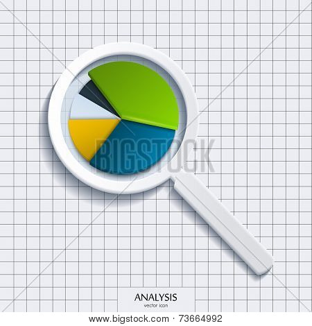 Analysis. Magnifying glass with business pie.