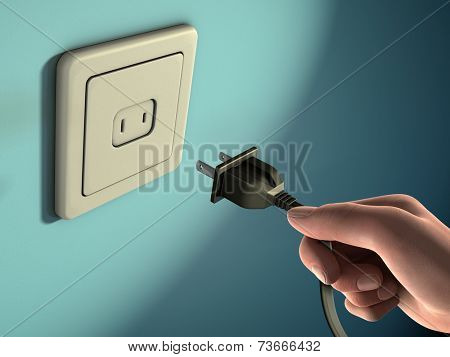 Male hand holding an electricity plug in front of a wall socket. Digital illustration.