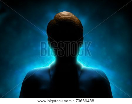 Silhouette of a mysterious figure with a strong blue back-light. Digital illustration.
