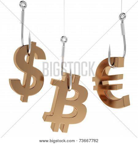 Money icon on fish hooks.