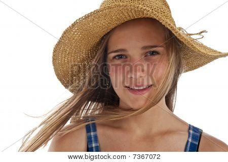 Cute Teen Girl In Straw Hat