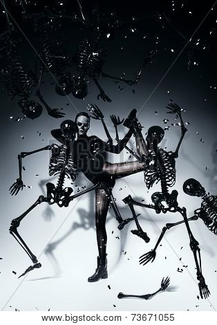 Bizzare Woman Dancing With Skeletons