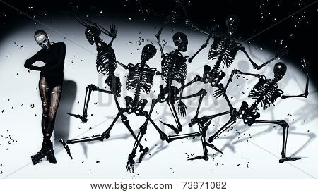 Scary Woman With Dancing Black Skeletons