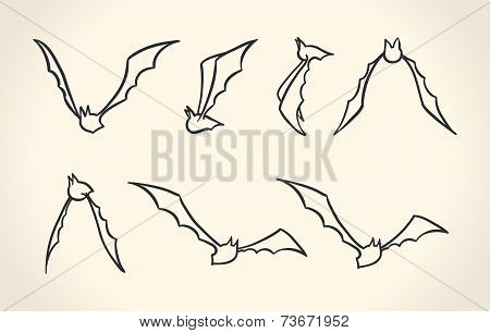 Bat silhouettes in a different poses, Halloween vector illustration