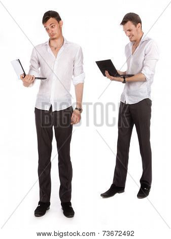 guy with a computer isolated under the white background
