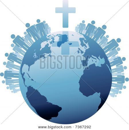 World Christian Populations Of Earth Under Cross